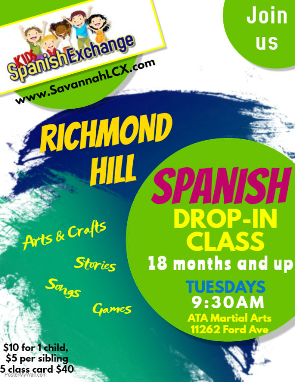 Spanish classes children RIchmond Hill Savannah Kids Spanish Exchange