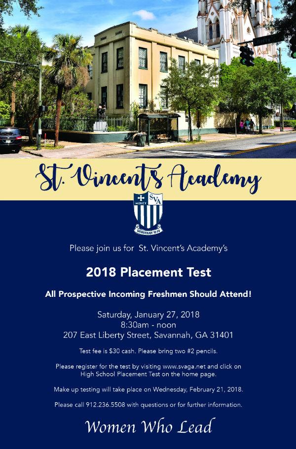 St. VIncent's Academy Savannah placement test high schools private