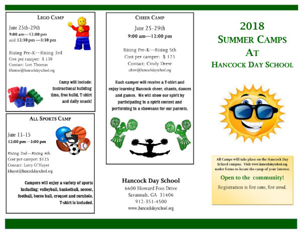 Savannah Summer Camps 2018 Hancock Day School
