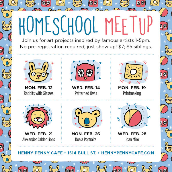homeschool meet-up henny penny art space cafe Savannah