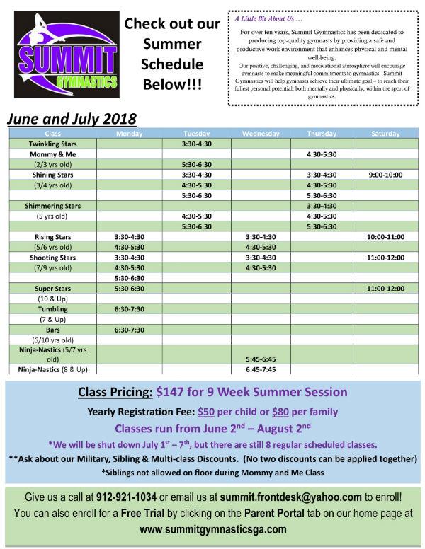 Summit Gymnastics Savannah Summer 2018 classes