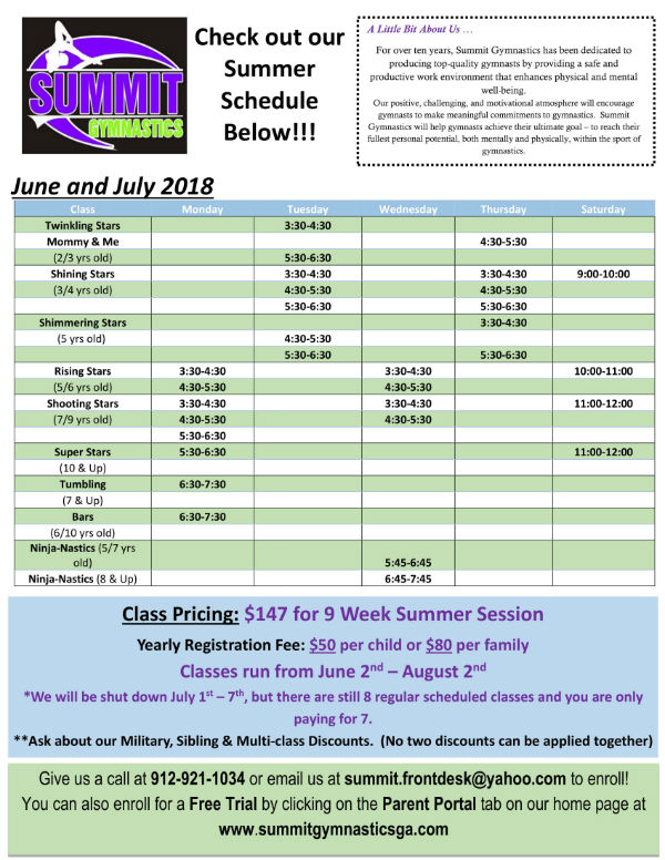 Summit Gymnastics Savannah Classes Workshops youth kids