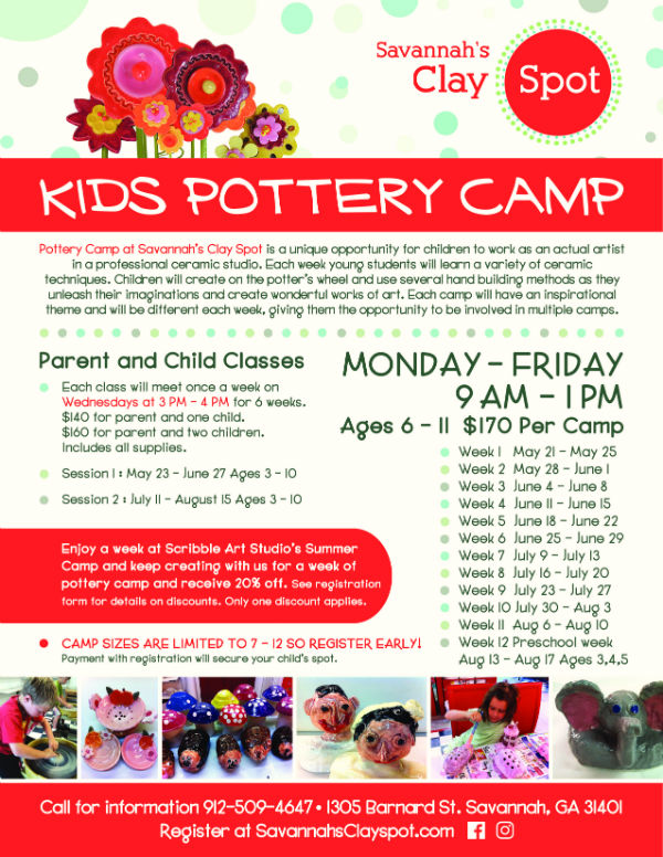 Savannah Summer Camps 2018 Pottery Clay Spot