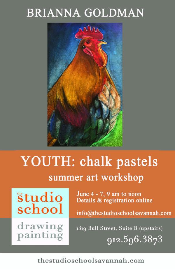 Youth chalk pastels summer workshop Savannah Studio School