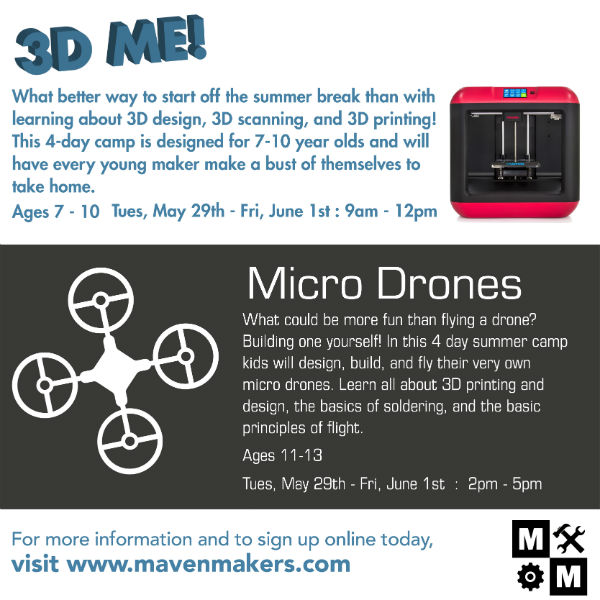 Drones STEM robotics savannah 3D Maven Makers summer camps 2018