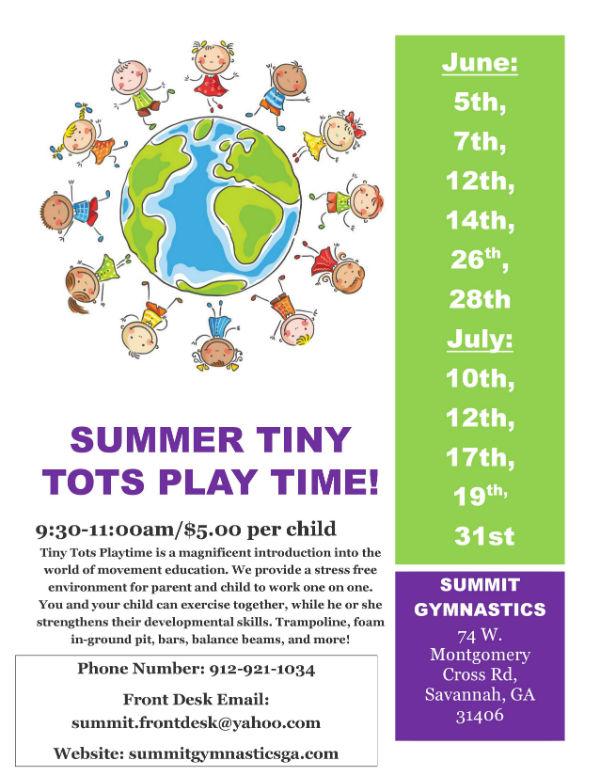Summer Savannah 2018 events Tiny Tots Play Time Summit Gymnastics