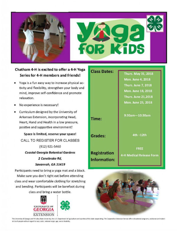 Free yoga for kids Savannah Coastal Georgia Botanical Gardens
