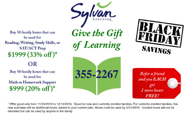 Sylvan Learning Center gift cards tutoring