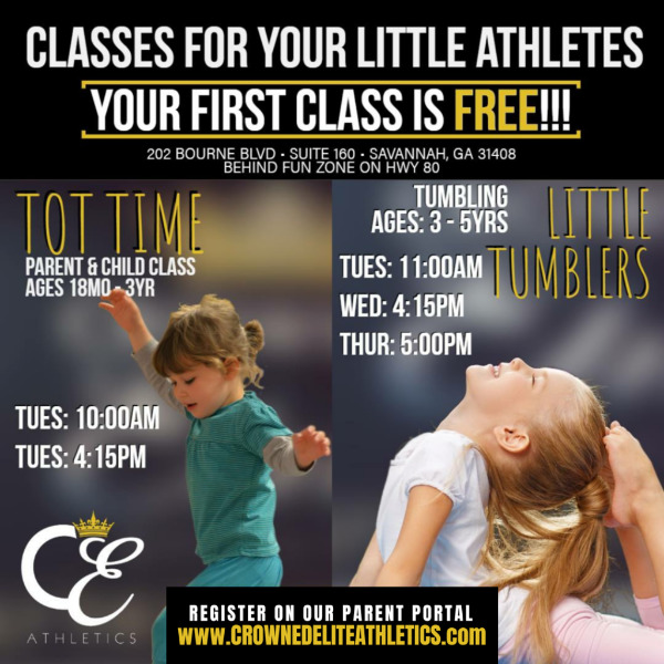 Tumbling, Tot Time, Crowned Elite Athletics classes gymnastics, cheer