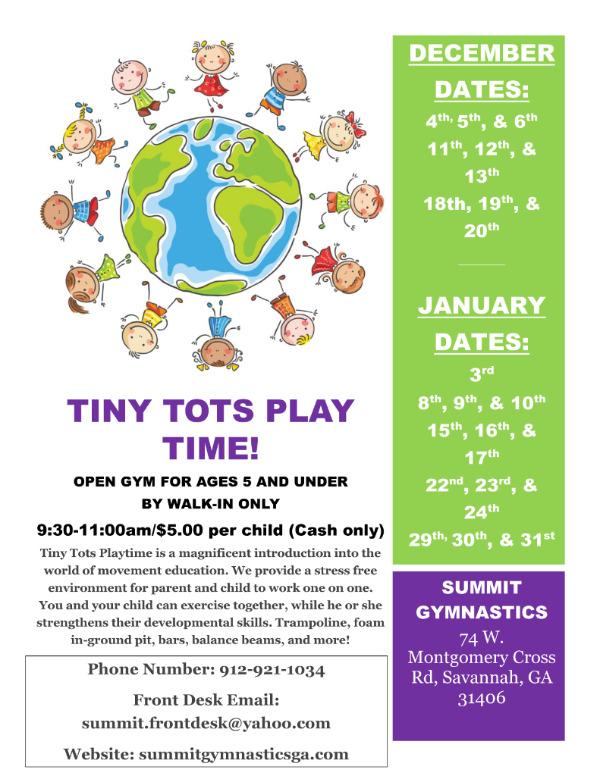 Tiny Tots Play Time Summit Gymnastics Savannah toddler preschoolers Mommy & Me