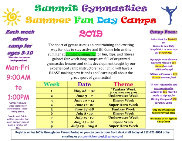 Summit Gymnastics Summer Camp 2019 Savannah Tumbling