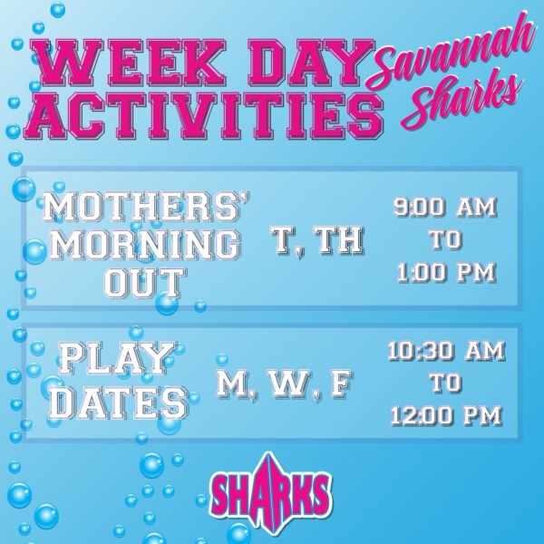 playdates mothers morning out Savannah sharks toddlers gyms