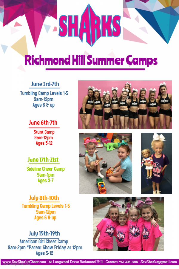 Richmond Hill Summer Camps 2019 Tumbling Cheer American Girl Stunt Savannah Sharks