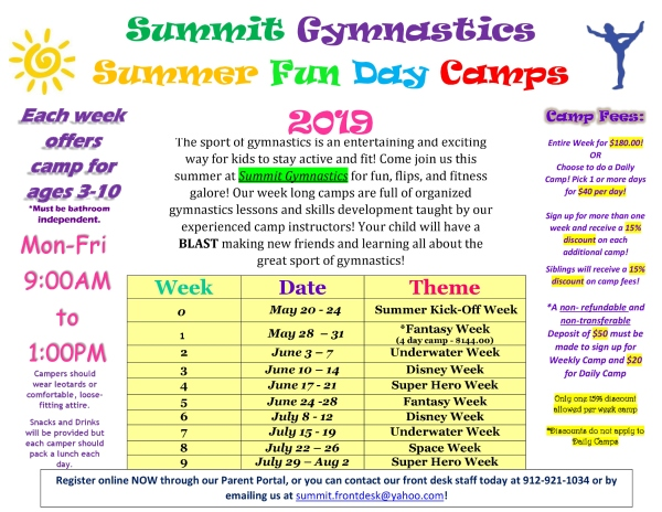 Summit Gymnastics Summer Camps 2019 tumbling