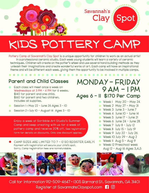 Pottery Camp Summer Savannah art camps 2019