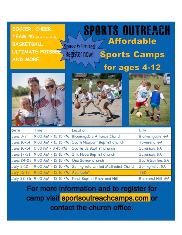 Sports Outreach Church Summer Camps VBS Faith-based savannah chatham county