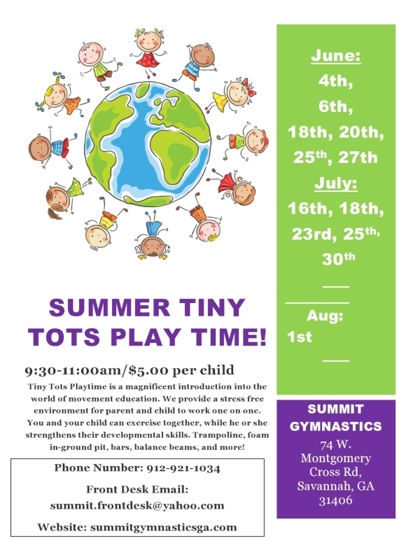 Summer 2019 Tiny Tots Summit Gymastics Savannah toddlers preschoolers