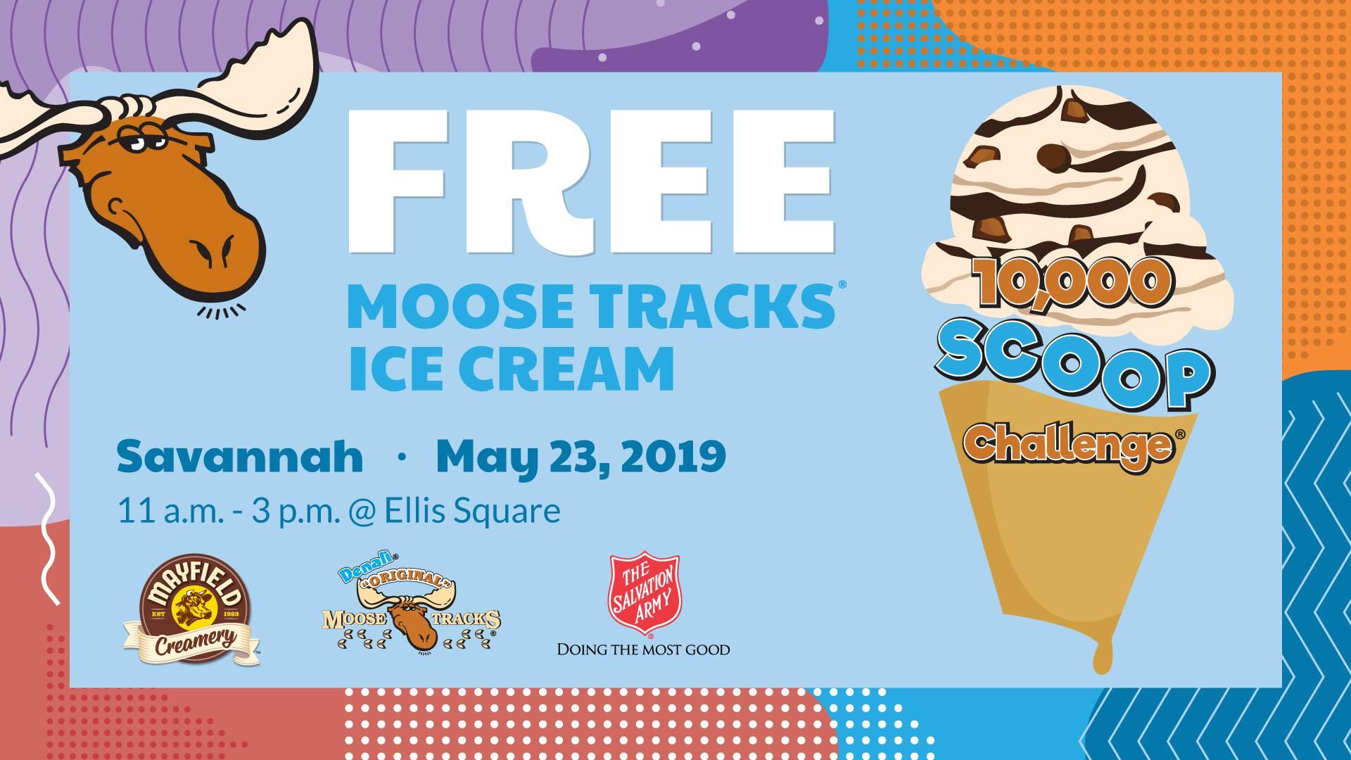 Free ice cream May 2019 Ellis Square Savannah 10,000 scoop challenge