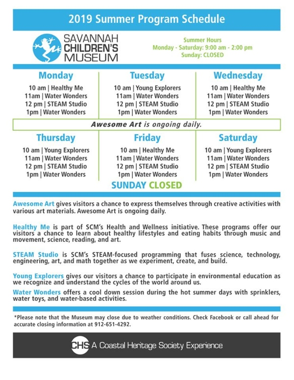 Savannah Children's Museum Daily Programs Summer 2019 schedule