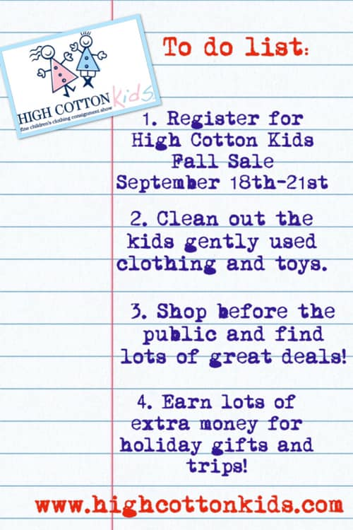 High Cotton Kids consignment sale Savannah 2019 Fall