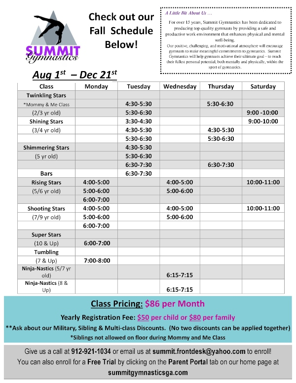 Summit Gymnastics Fall Schedule 2019 Savannah Tumbling