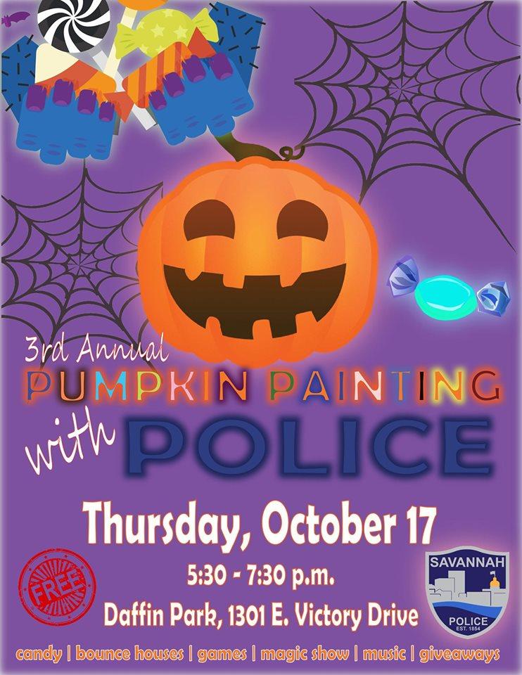 Savannah police pumpkin painting police Halloween 2019 free