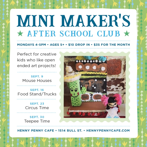 Mini Makers after-school club art crafts Henny Penny Scribble Savannah kids
