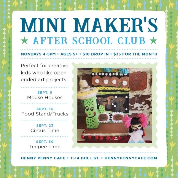Mini Makers after-school club art crafts Henny Penny Scribble Savannah kids
