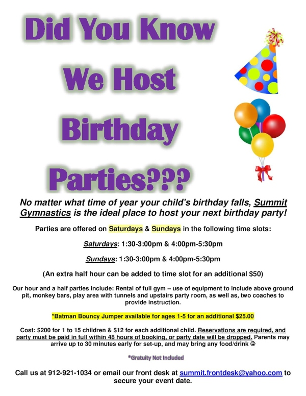Children's birthday parties Savannah Summit Gymnastics