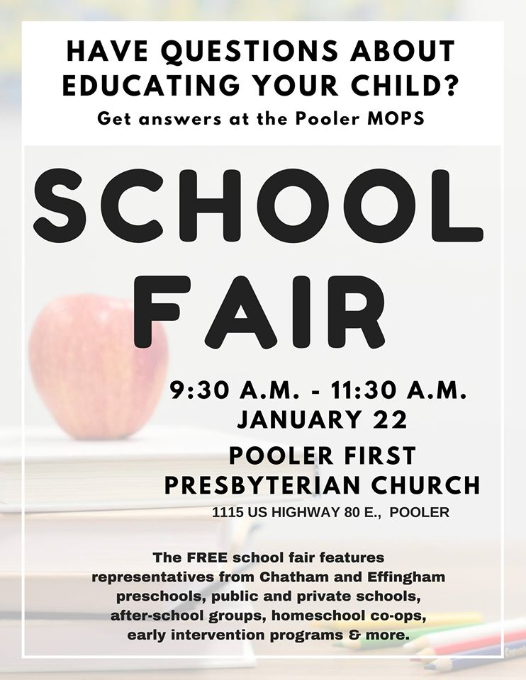Pooler MOPS School Fair 2020 Savannah schools prek