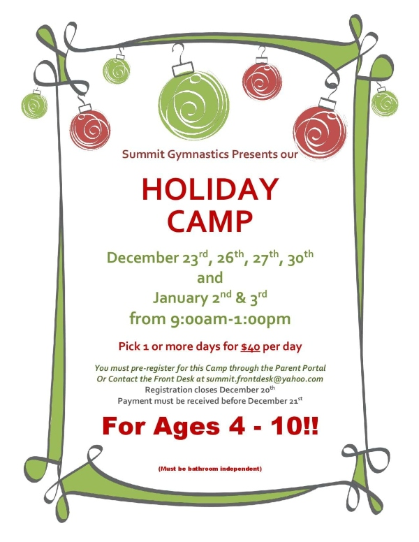 Holiday Camp Summit Gymnastics Savannah 2019 tumbling