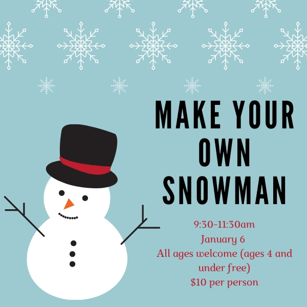 Snowman Savannah Cultural Arts Center Workshop Kids 2020