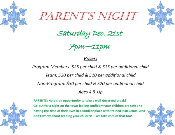 Parents Night Out Summit Gymnastics Savannah childcare
