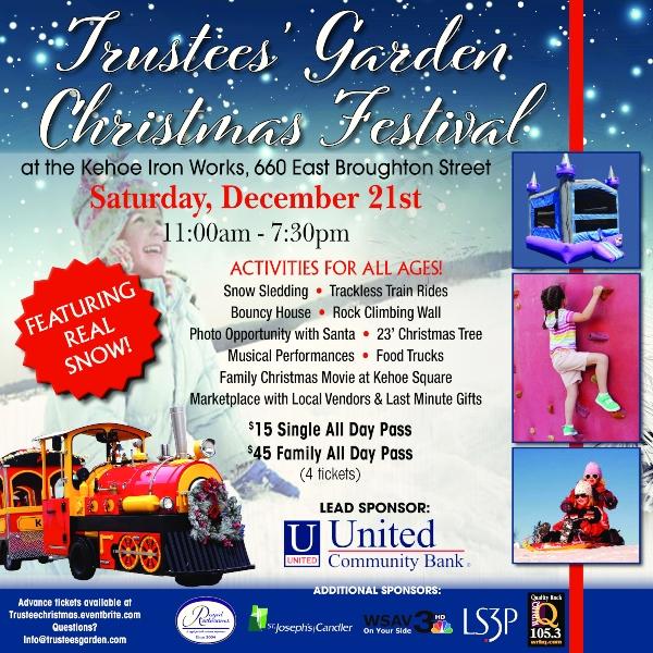 Trustees Garden Christmas Festival Savannah 2019 holidays events kids