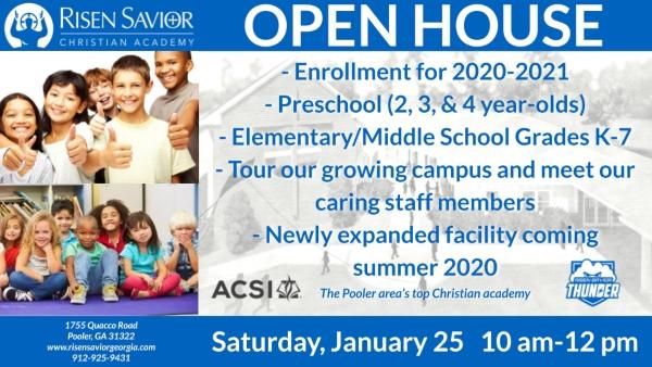 Pooler schools RSCA Risen Savior open house 2020 schools