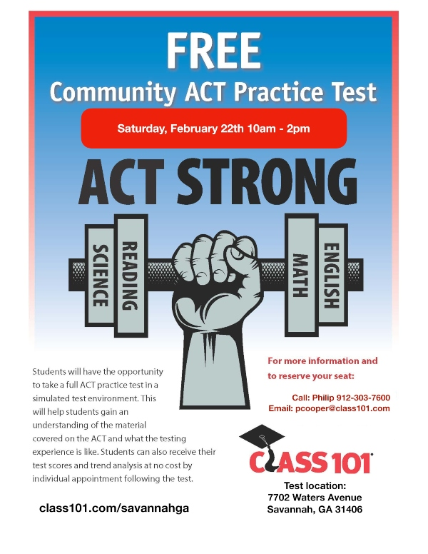 Free Community ACT Practice Test Savannah Pooler Class 101