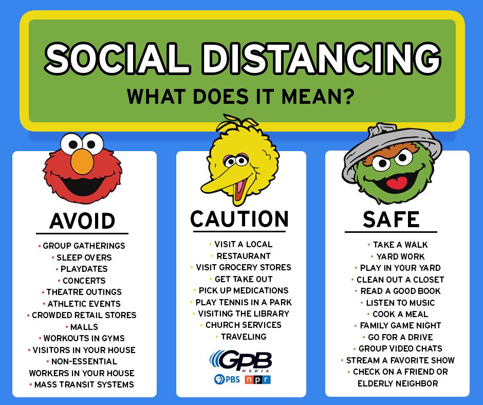 social distancing sesame street kids
