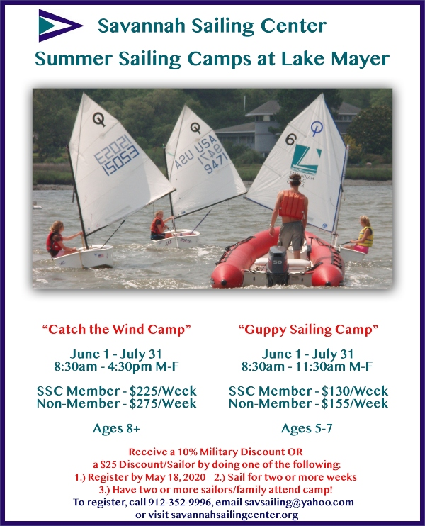 sailing camp savannah chatham county lake mayer
