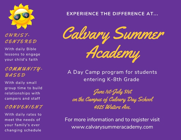 Calvary Summer Academy Savannah Summer Schools 2020