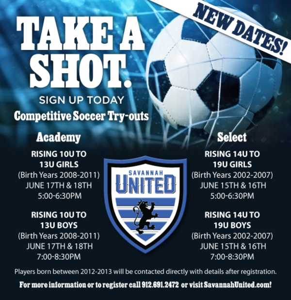 Savannah United Competitive Soccer Tryouts 2020 youth