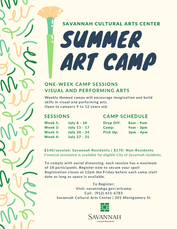 Summer Art Camp 2020 Savannah Cultural Arts Center