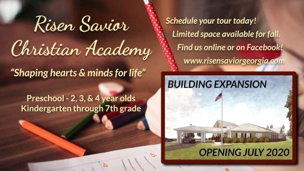 Risen Savior Christian Academy Pooler schools Savannah Chatham County