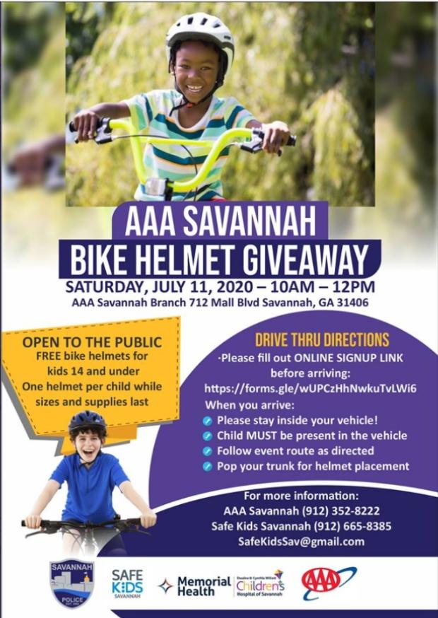 Free bike helmet giveaway in Savannah 2020