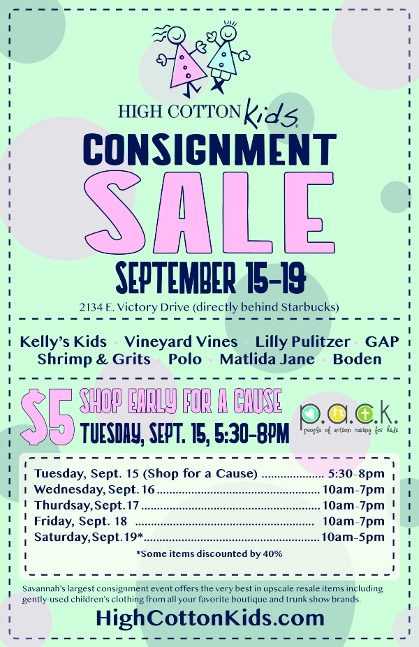 High Cotton Kids consignment Sale Savannah Fall 2020