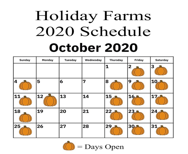 Holiday Farms 2020 Fall Schedule Ridgeland SC Hilton Head Savannah Pumpkin patch