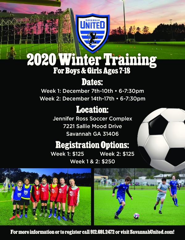 Savannah United soccer winter training boys girls chatham county leagues youth