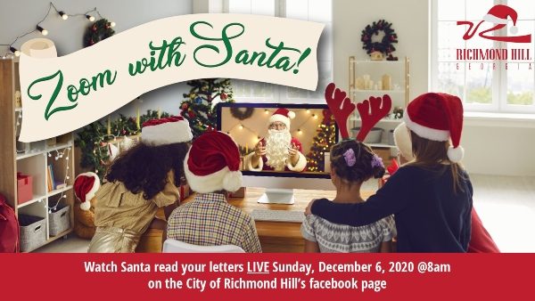 Zoom with Santa Richmond Hill Ga free holiday kids events