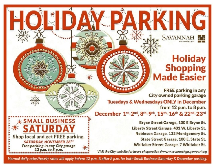 Free holiday shopping parking downtown Savannah 2020