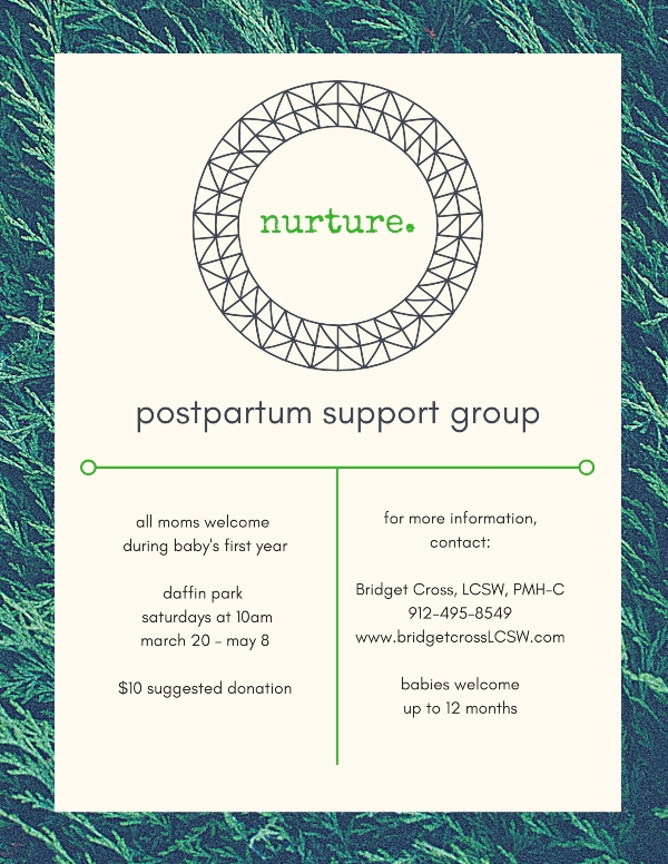 postpartum support Savannah Chatham County nuture moms groups post pregnancy