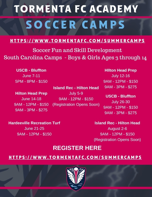 Tormenta Summer Camps 2021 Soccer Savannah Chatham County Statesboro Hilton Head Bluffton